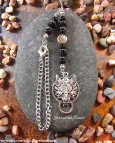 Black Onyx Wolf Car Charm by StarshineBeads on Etsy #carcharms #cardecor #wolf #wolves #cardecoration #caraccessories #blackonyx #giftideas #giftsforhim #uniquegifts #pagangifts #pagan #wiccan #onyx