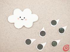 Procuriamoci:  • pasta Fimo bianca,  • mattarello,  • due stampini per i biscotti a forma di fiore e di lacrima,  • colori avrilici,  • lacca,  • pennello,  • calamite  • e colla.