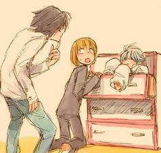 L, Mello, and Near 壁紙 containing comic book in The DEATH NOTE デスノート Club
