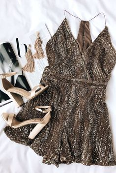 A beautiful holiday romper with sequins + sparkle, perfectly complemented by matte and satin shoes.