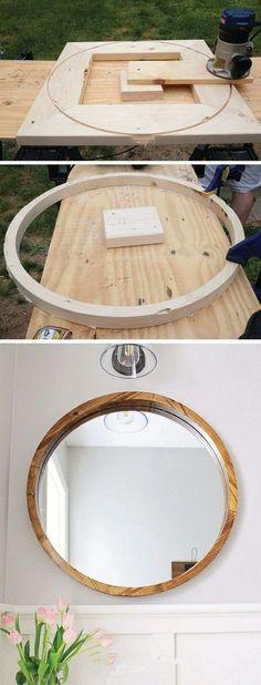 DIY Round Wood Framed Mirror | I love the method... very ingenious #woodworkingplans