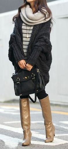 Oversized Cardigan Sweater with Chunky Scarf & Riding Boots