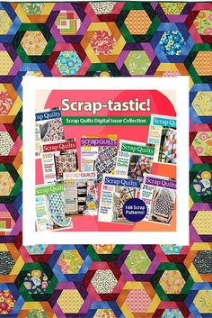 Like scrappy quilt patterns? This collection of Scrap Quilts issues from Fons & Porter gives you 168 scrappy quilt patterns! It's time to dip into that stash.