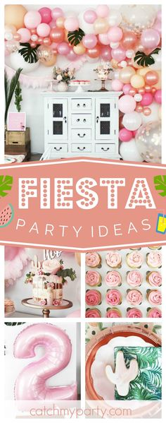 Don't mis this stunning Palm Springs Fiesta! Birthday Decorations, Birthday Party Themes, Balloon Decorations, Birthday Stuff, Girl Birthday, Fiestas Party, Tropical Party, Pink Parties, Party Entertainment