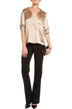 Donna Karan New YorkStretch-silk satin and chiffon blousefront