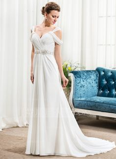 $150 - http://www.jjshouse.com/A-Line-Princess-Off-The-Shoulder-Court-Train-Chiffon-Wedding-Dress-With-Ruffle-Beading-Sequins-002056243-g56243/color__ivory