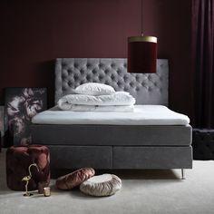 ORUST Kontinentalmadrass tyg Design ljusgrå mf cm ink bm o ben Tyger, Ben, Ottoman, Lounge, Couch, Flat, Bedroom, Interior, Furniture