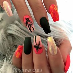 🌴🖤🍓 Neon Coral and White with Mylar Foil, Matte Black and Ombre with Palm Trees on tapered Square Nails 👌 Orange Ombre Nails, Orange Acrylic Nails, Summer Acrylic Nails, Best Acrylic Nails, Matte Nails, Pink Nails, Gel Nails, Black Ombre, Matte Black