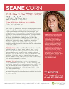 Join Seane Corn, an internationally celebrated #yoga teacher, for two upcoming workshops in February, Chakra Flow & Detox Flow! She has appeared on over twenty magazine covers, as a yoga contributor for Oprah.com's 'Spirit' section and seen on Today Show with Matt Lauer. #Chakras #Detox