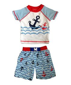 This White Anchor Dip Rashguard Set - Infant & Toddler by Sol Play is perfect! #zulilyfinds
