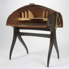 RISD Museum: Jere Osgood, American, Summer '99 Shell Desk, 1999, Bubinga, wenge, satinwood, brass and water-buffalo calfskin; 111.8 x 83.8 x 109.2 cm (44 x 33 x 43 inches), Helen M. Danforth Acquisition Fund 1999.30