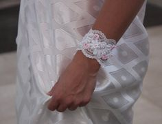 Bridal lace bracelet white and pink Wedding lace by NevelynkaNasha, $35.00