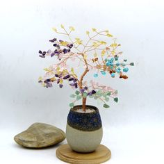 Chakra Wire Gemstone Tree Sculpture Life of Tree Chakra Beads Lucky Tree Feng Shui Decor Tree Bonsai Yoga Energy Healing Meditation Gift Meditation Gifts, Healing Meditation, Yoga Energy, Chakra Beads, Tree Sculpture, Beaded Wrap Bracelets, Green Aventurine, Blue Beads, Feng Shui