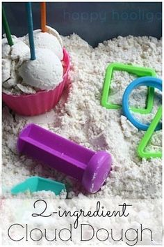 2-ingredient cloud dough with baby oil and flour!  It's the ULTIMATE sensory play activity!  It's silky soft and smells amazing, and it will keep forever! - Happy Hooligans