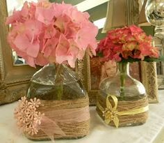 Square Shaped Twine Wrapped Bottles:    Square Shaped Bottles  Twine  Ribbon  Flowers    via: Someday Crafts: Guest Blogger - Frugalicious Me - Beautiful Upcycled Tins