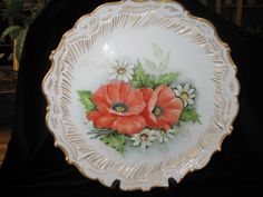 Limoges France collector plate poppies and by elodiesmelodies, $99.00
