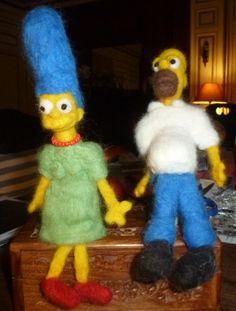 Homer and Marge - needle-felted by me  Facebook.com/Humpbuckle.Creations