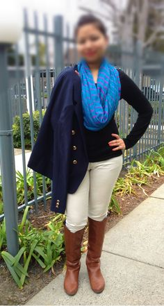 top, infinity scarf, riding boots and military blazer
