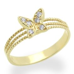14K Yellow Gold Engagement Ring 0.1ctw CZ Cubic Zirconia Butterfly Ring