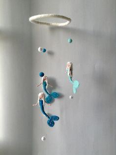Waldorf mermaid mobile hanging mermaids. Ombré by lovebluecats