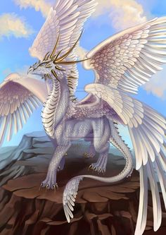 White Dragon by Saarl ~ Black Sun Empire ~ http://saarl.deviantart.com/ ♥ Interesting piece. I've never imagined dragons with 4 wings. I also like how feathers were added to the end of its tail.