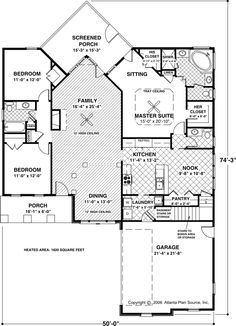 Wonderful beach cottage first floor plan Sleeping porch and bunk