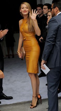Blake Lively wearing mustard Gucci dress