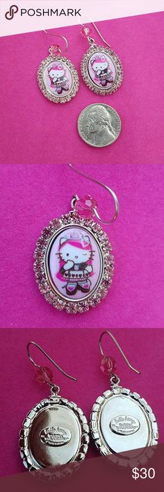 Tarina Tarantino Hello Kitty Sanrio Earrings From 2003. Tarina Tarantino Hello Kitty fishhook pierced earrings with pink crystals. Never worn. In excellent condition with no surface wear. The charm is an inch long. Tarina uses hypo allergenic materials for her earwire. Not sure of the exact composition of metal, but I have gotten my information from her website. Tarina Tarantino Jewelry Earrings