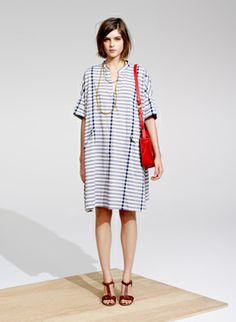 madewell striped poncho dress
