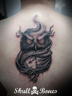 Clock owl #clockowl #clock #owl #owltattoo #clocktattoo #blackandgrey #skullnbones #skullnbonestattoo