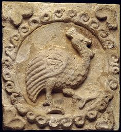 Wall panel with a guinea fowl  Period: Sasanian Date: ca. 6th century A.D. Geography: Mesopotamia, Ctesiphon Culture: Sasanian Medium: Stucco Dimensions: H. 10 1/2 x W. 9 3/4 in. (26.7 x 24.8 cm) Classification: Stucco-Relief