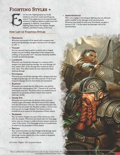Fighting Styles +, Full document in Comments - UnearthedArcana Dungeons And Dragons Rules, Dungeons And Dragons Classes, Dungeons And Dragons Homebrew, Dungeons And Dragons Characters, Dnd Characters, Dnd Feats, Dnd Classes, Dnd Races, Create Your Own Adventure