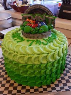 """10"""" Teenage Mutant Ninja Turtle Cake w/ fondant TMNT topper."""