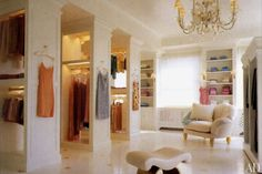 Peek into the closets of the stars  Elton John's temple to sunglasses. Ellen DeGeneres' sneakers arranged neatly alongside Portia de Rossi's heels. Vegas hotelier Steve Wynn's pastel forest of ties. The dressing spaces where celebrities get red-carpet-ready are almost as stylish as the outfits they contain. | Text by Elizabeth Stamp, Architectural Digest