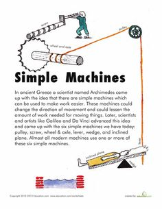Worksheets: Simple Machines