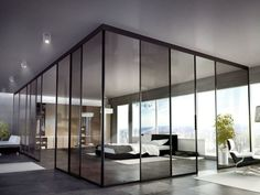 Sliding glass office partition SUITE PARTITION by Interno Doors