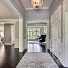 Neutral Gray Paint, Grey Paint Colors, Interior Paint Colors, Paint Colors For Home, House Colors, Gray Painted Walls, Gray Color, Foyer Decorating, Living Room Grey
