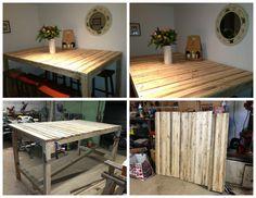 "High ""eat up"" table made with glued laminated pallet. Table haute ""mange debout"" en palette laméllée collée. #Kitchen, #PalletTable, #RecycledPallet"