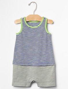 GAP Baby Boy Size 0-3 Months Blue / Green Striped Tank One-Piece Bodysuit Romper