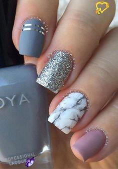 acrylic nail shapes Medium Length #cutenailshapes #acrylicnails #acrylic #nails #medium #length<br> Marble Nail Designs, Marble Nail Art, Nail Art Designs, Nails Design, Dark Nails, My Nails, Glitter Nails, Metallic Nails, Matte Gray Nails