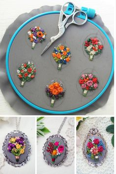 Hand Embroidered Jewelry by Bogdana Prots Handbestickter Schmuck von Bogdana Prots Hand Embroidery Patterns Flowers, Hand Embroidery Videos, Creative Embroidery, Simple Embroidery, Hand Embroidery Stitches, Silk Ribbon Embroidery, Embroidery Jewelry, Embroidery Hoop Art, Hand Embroidery Designs