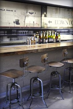 So grab a beer, whiskey, or glass of wine and get inspired because here are 71 totally unique ideas for decorating your home bar. Get your home bar ready for entertaining with these design ideas and tips. Cafe Bar, Restaurant Bar, Restaurant Trends, Firefly Restaurant, Rustic Restaurant Design, Farmhouse Restaurant, Restaurant Seating, Bar Retro, Vintage Bar