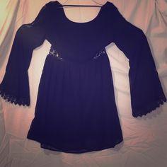 Stevie nicks knock off dress Black sheer dress, peekaboo lace on waist, knee length, silk, worn once Doe & Rae Dresses High Low
