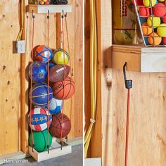 Bungee Cord Ball Tower - 10 Creative Home Hacks That Will Improve Your Life — Family Handyman Do It Yourself Home, Improve Yourself, Tools And Toys, Cord Storage, Kayak Storage, Vinyl Siding, Home Hacks, Diy Hacks, Cleaning Hacks