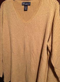 Women's Plus Size 1x Lightweight Sweater Gold Metallic Dressy or Casual Nice | eBay