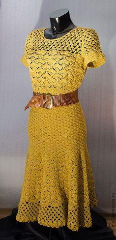 вдъхновение от Оскар де ла Рента - Ivelise Feito à Mão: Tudo Amarelo! Mode Crochet, Crochet Art, Crochet Woman, Crochet Hooks, Knit Dress, Dress Skirt, Dress Vestidos, Crochet Needles, Beautiful Crochet