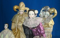 Contemporary Porcelain Bisque Harlequin Jester Dolls