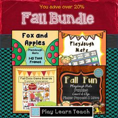 112 pages of Fall-themed playdough mats, gameboards, and more for preschool - kindergarten.  Revised and expanded resource 09/2014   $