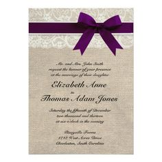 This custom wedding invitation is the perfect combination of traditional and trendy. The burlap-look background is perfect for a rustic or vintage themed wedding and the lace-look accent adds a classic, romantic touch. Coordinates with full collection of matching Save the Dates, RSVP cards, custom postage, and more! Email me for custom colors! NOTE - This is a high-quality printed image of burlap, lace, & ribbon; this invitation does not contain actual burlap, lace, or ribbon. Thanks!