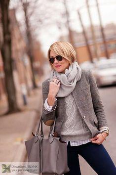 Blazer, denim, scarf